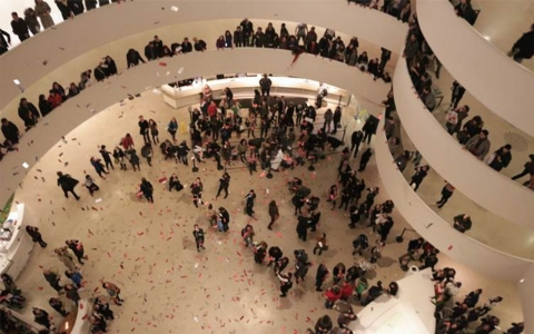 Thumbnail image for Guggenheim protesters 'make it rain' to highlight poor labor practices