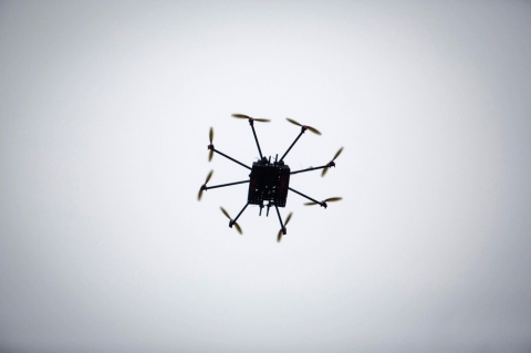 A drone out on a test flight.
