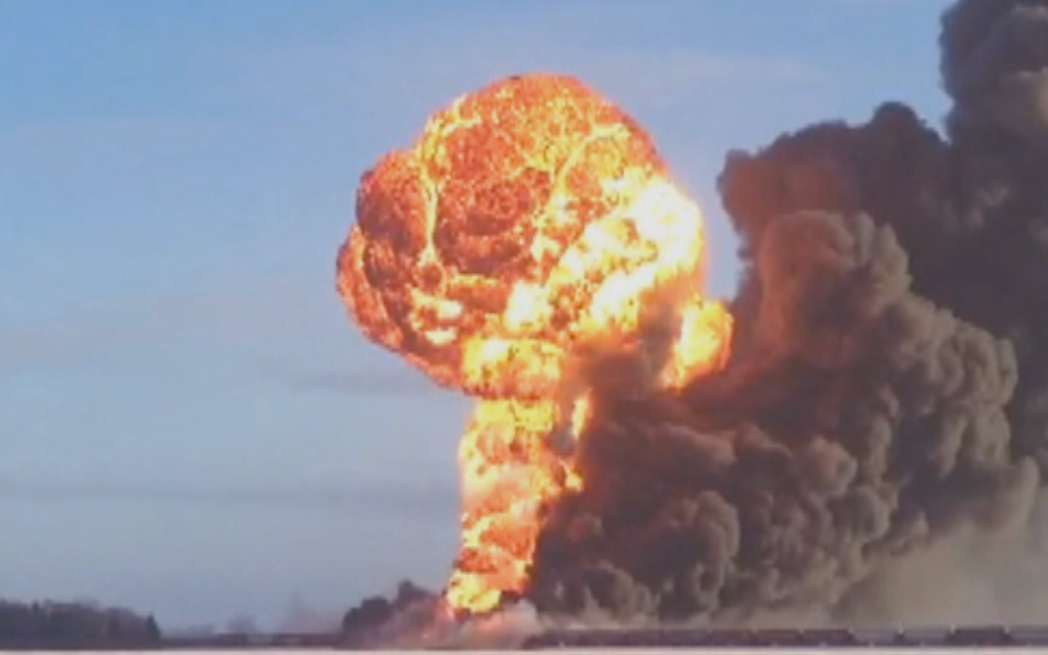 A fireball erupts over a December oil train derailment in Casselton, North Dakota.